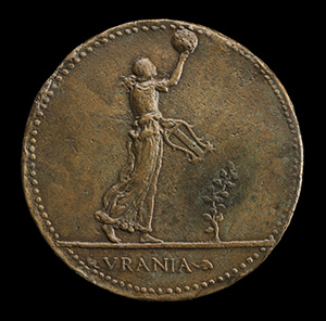 Giovanni Gioviano Pontano, 1426-1503, Poet [obverse]; Urania Walking to Right, Holding a Globe and Lyre [reverse]