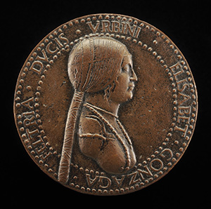 Elisabetta Gonzaga, died 1526, Duchess of Urbino, Wife of Guidobaldo I 1489 [obverse]; Female Figure Holding a Bridle [reverse]